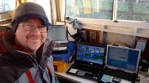 John Goff supervises the sonar mapping of the seafloor along the south shore of Long Island. The scientists are trying to track down where Sandy deposited sediment and sand from the barrier islands from the beaches.
