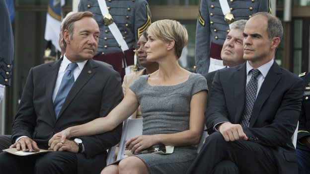 Kevin Spacey and Robin Wright star in the new Netflix original series House of Cards, which premieres Feb. 1. (Netflix)