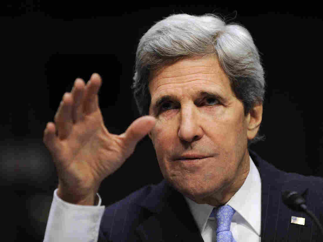 Sen. John Kerry, D-Mass., at his confirmation hearing last week.