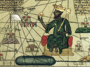 A rendering in the Catalan Atlas (1375) shows Mansa Musa, a 14th century king of Mali, holding a gold nugget and wearing a European-style crown.