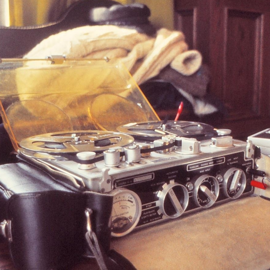 A Nagra recorder used to record a 1976 interview at the University of Chicago for the NPR Program 'Folk Festival USA.'