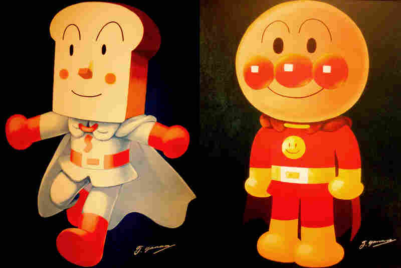 Two Of The Heroes From Anime Series Go Anpanman Head Shokupanman