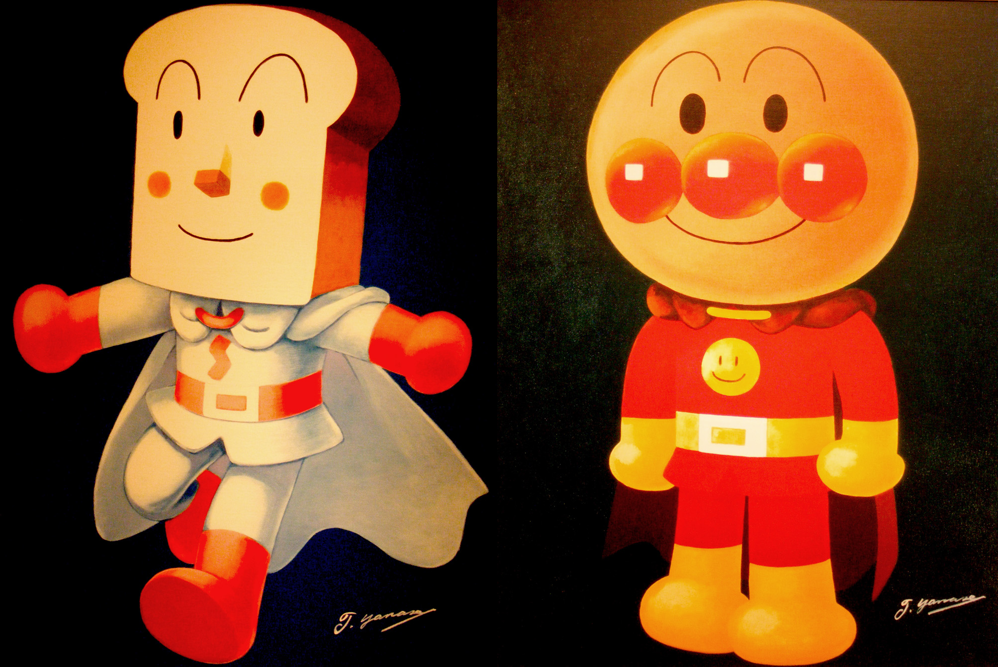 Two of the heroes from the anime series Go! Anpanman. The head of Shokupanman (left) is made out of white bread. Anpanman (right) is named after a Japanese sweet roll stuffed with red bean paste.