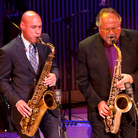 Saxophonists Joshua Redman (center) and Joe Lovano (left) lead a performance at the SFJAZZ Center grand opening.