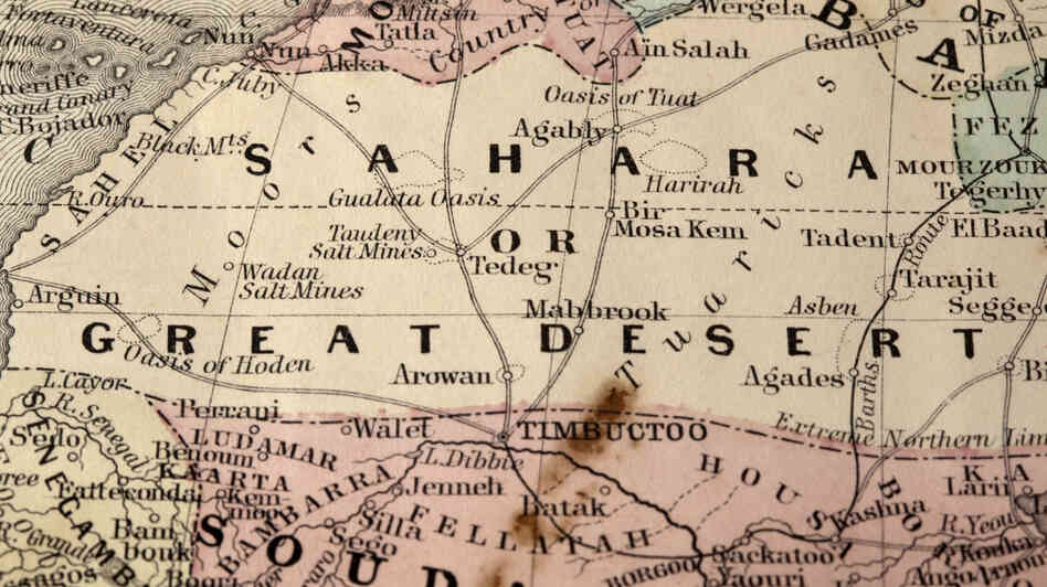 "A vintage map of the Sahara desert with ""Timbuctoo"" located on the southern edge."