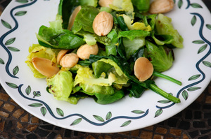 brussels sprouts leaves, marcona almonds, sprouted kitchen