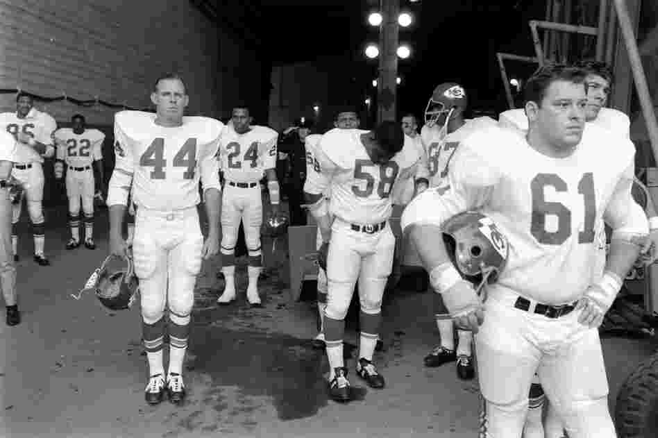 The Kansas City Chiefs wait to take the field against the Green Bay Packers prior to the start of Super Bowl I, played in Los Angeles on Jan. 15, 1967.