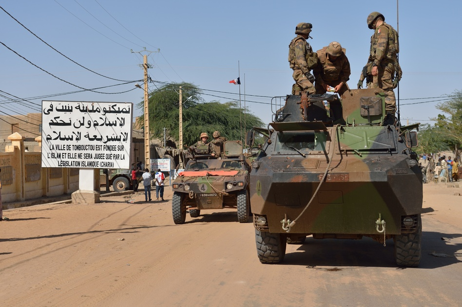 A French military convoy crosses Timbuktu on Tuesday.  (AFP/Getty Images)
