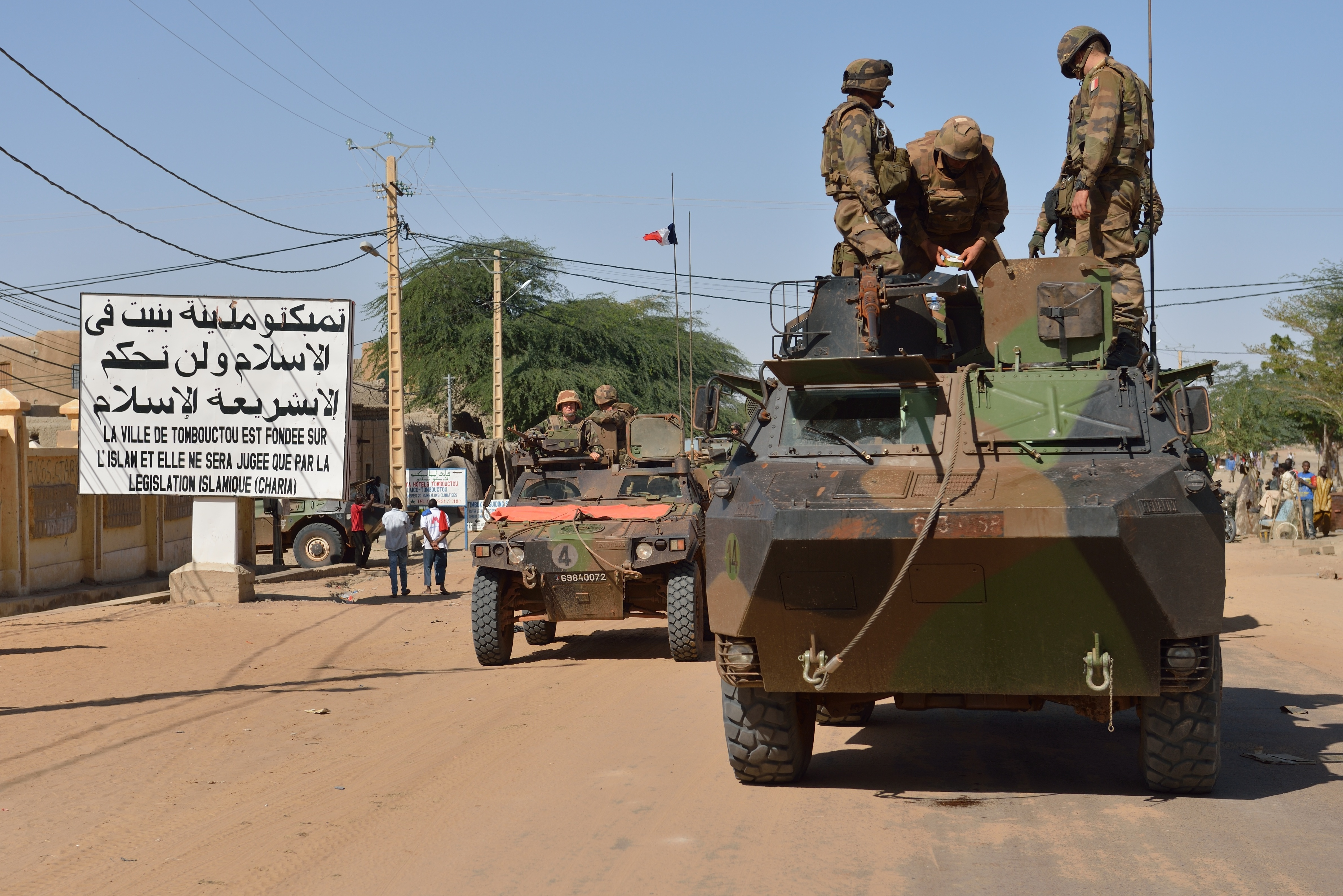 A French military convoy crosses Timbuktu on Tuesday.
