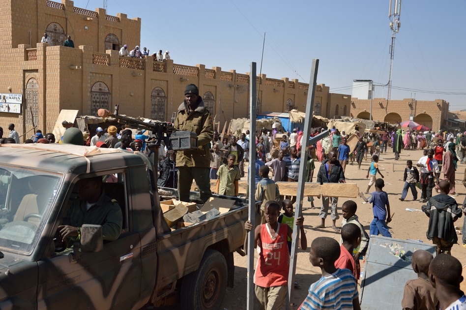 Malian soldiers patrol Timbuktu on Tuesday to keep looters at bay. (AFP/Getty Images)