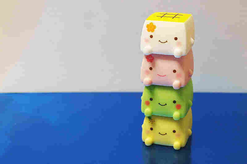 Hannari Tofu is a character who shows up on a range of plush merchandise.