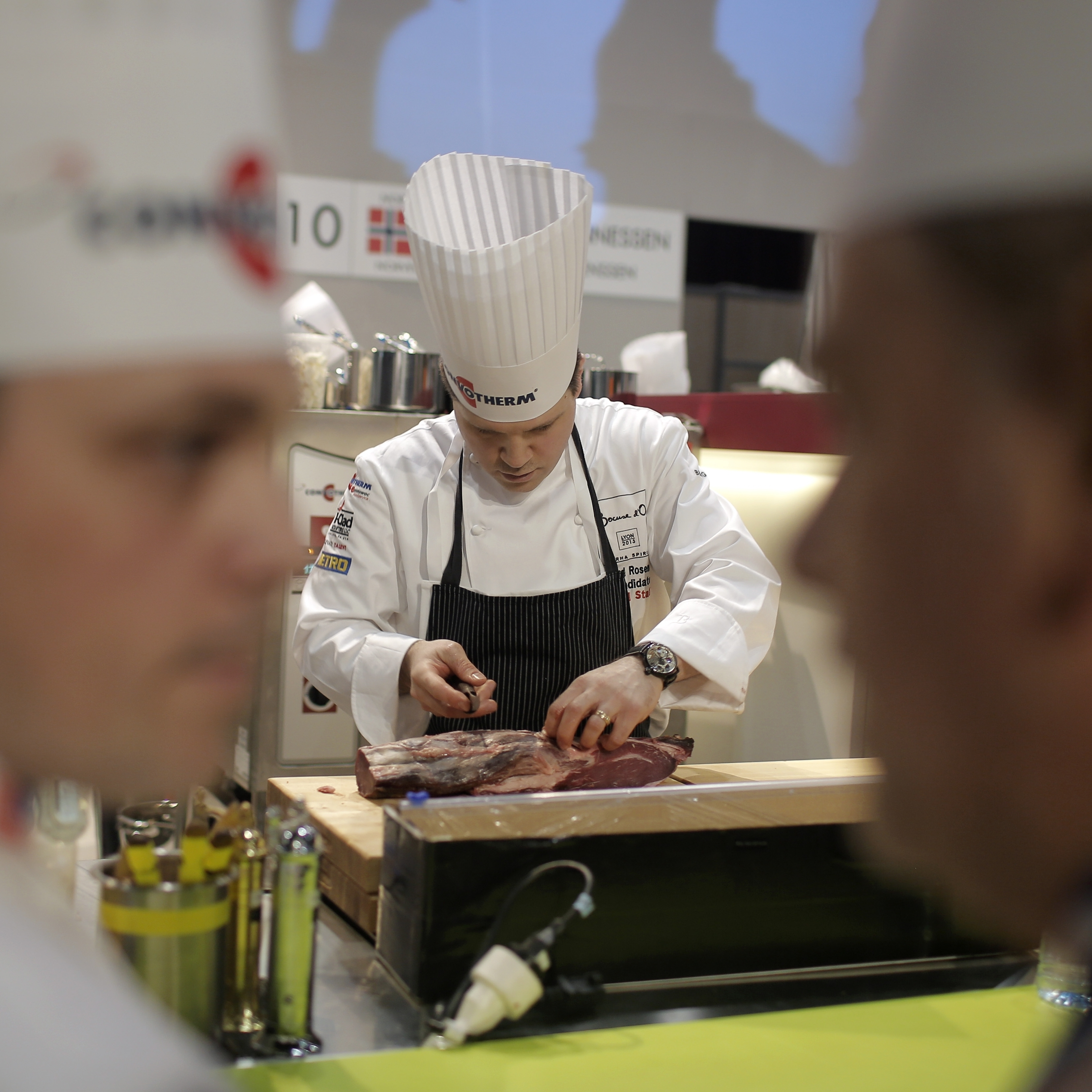 Richard Rosendale of the U.S. team prepares food during the Bocuse d'Or in Lyon, France. The U.S. has long been the underdog in the event.