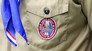 An Eagle Scout patch is shown on a scout in Orlando, Fla., in May 2012.