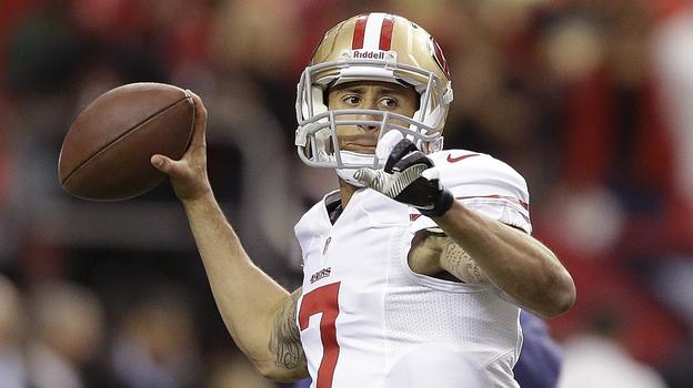 San Francisco 49ers quarterback Colin Kaepernick throws before the NFC Championship game against the Atlanta Falcons on Jan. 20. (AP)