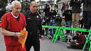 Former Penn State assistant football coach Jerry Sandusky as he walked into his sentencing hearing in October.