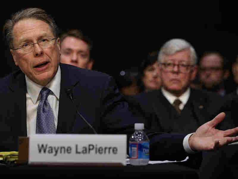 Wayne LaPierre, executive vice president and CEO of the National Rifle Association, testifies while NRA President David Keene listens during a Senate Judiciary Committee hearing on gun violence Wednesday.