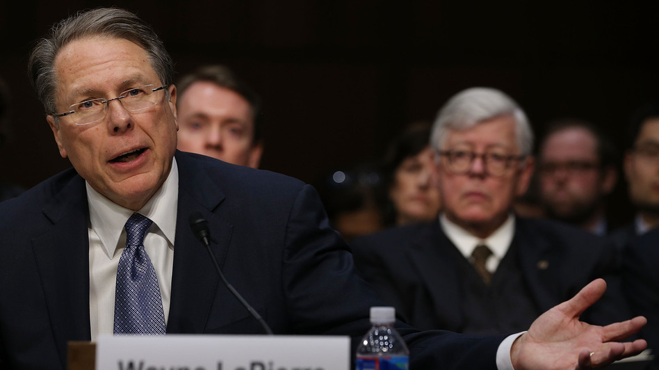 Wayne LaPierre, executive vice president and CEO of the National Rifle Association, testifies while NRA President David Keene listens during a Senate Judiciary Committee hearing on gun violence Wednesday. (Getty Images)