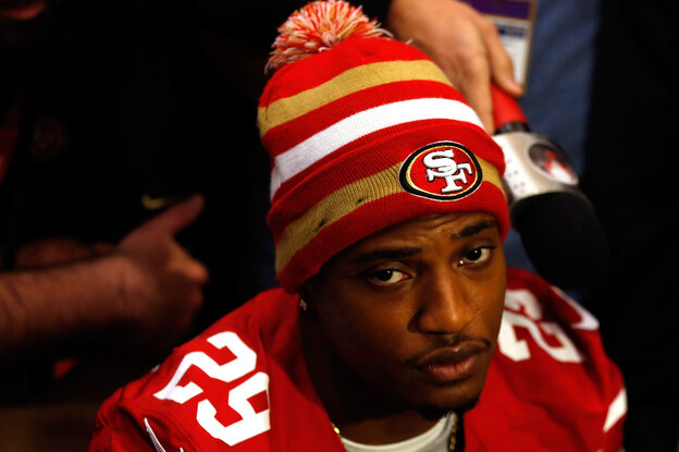 Chris Culliver of the San Francisco 49ers addresses the media at the New Orleans Marriott on Thursday.
