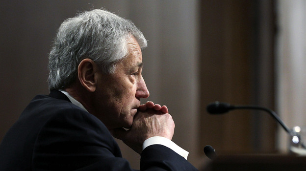 Secretary of Defense nominee Chuck Hagel testifies Thursday before the Senate Armed Services Committee during his confirmation hearing. (Getty Images)