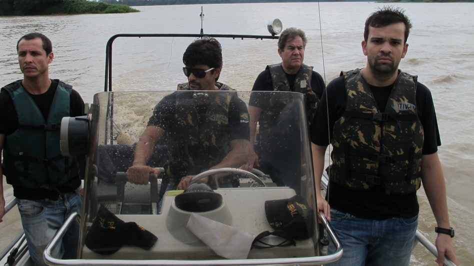 Brazilian federal police patrol the Mamore River, which separates Brazil from Bolivia. The river is used by traffickers to ferry cocaine from Bolivia into Brazil, where cocaine consumption is rising rapidly. (Getty Images)