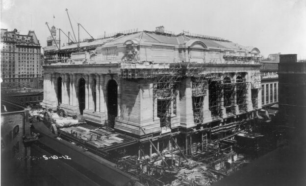 Grand Central Terminal, under construction in 1912, celebrates its 100th birthday on Friday.