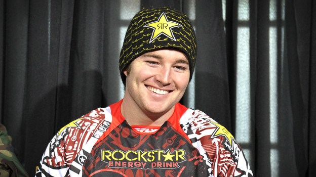 Snomobiler Caleb Moore smiles during a Winter X Games news conference in Aspen. (AP)