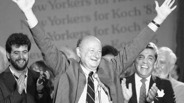 New York Mayor Ed Koch raises his arms in victory on Sept. 11, 1985, after winning the Democratic primary in his bid for a third four-year term. (AP)