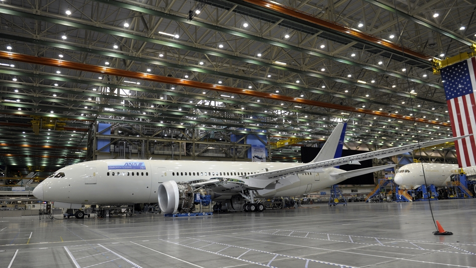 A Boeing 787 under construction inside a production facility at a Boeing plant in Everett, Wash., last year. (AP)