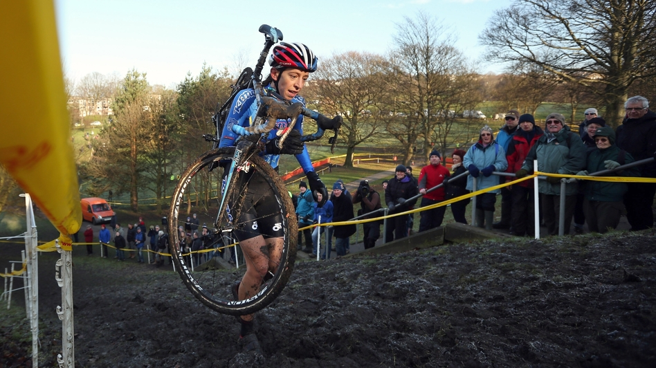 Helen Wyman nears the finish line in the women's race at the 2013 National Cyclo-Cross Championships in Bradford, England, this month. Popular in Europe, cyclo-cross is the fastest growing bicycle discipline in the U.S.