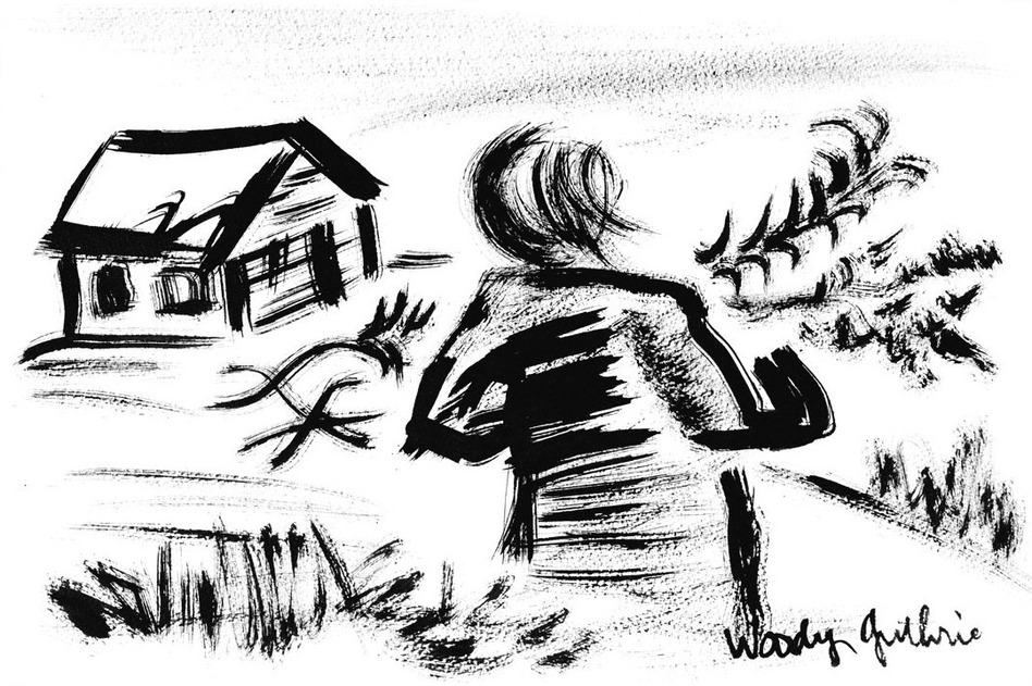 """House of the Earth, Woody Guthrie's 1947 novel about struggling young sharecroppers, is also filled with his drawings. Above, """"Summer Leaves and Limbs,"""" 1947. (Courtesy Woody Guthrie Archives. Copyright Woody Guthrie Publications, Inc.)"""