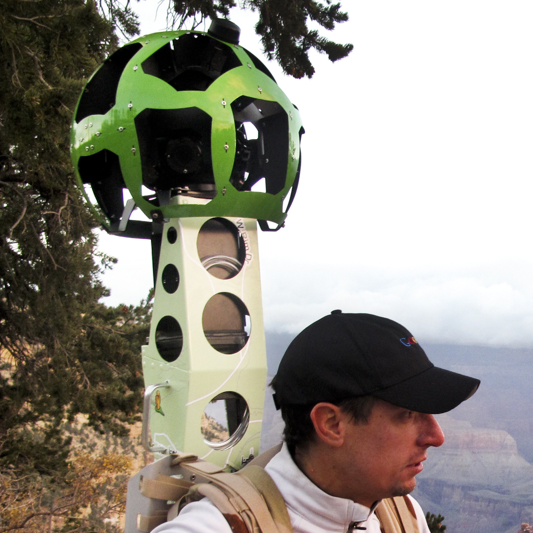 Google's Craig Robinson and James Hoffacker prepare to hike into the Grand Canyon. Robinson is wearing the new Google Trekker -- a Street View camera mounted to a backpack. The Trekker's two lithium ion batteries can last eight hours and power 15 cameras. The pack -- designed and built by Google -- weighs 40 pounds.