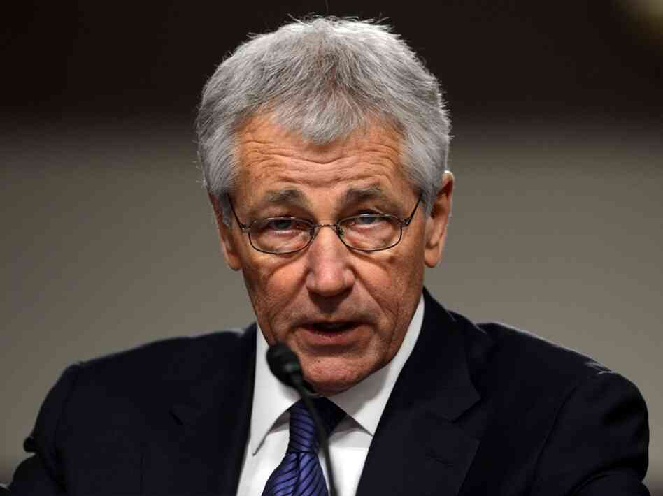 Former Sen. Chuck Hagel, R-Neb., during his Senate nomination hearing earlier today.