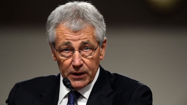 Former Sen. Chuck Hagel, R-Neb., during his Senate nomination hearing earlier today. (AFP/Getty Images)