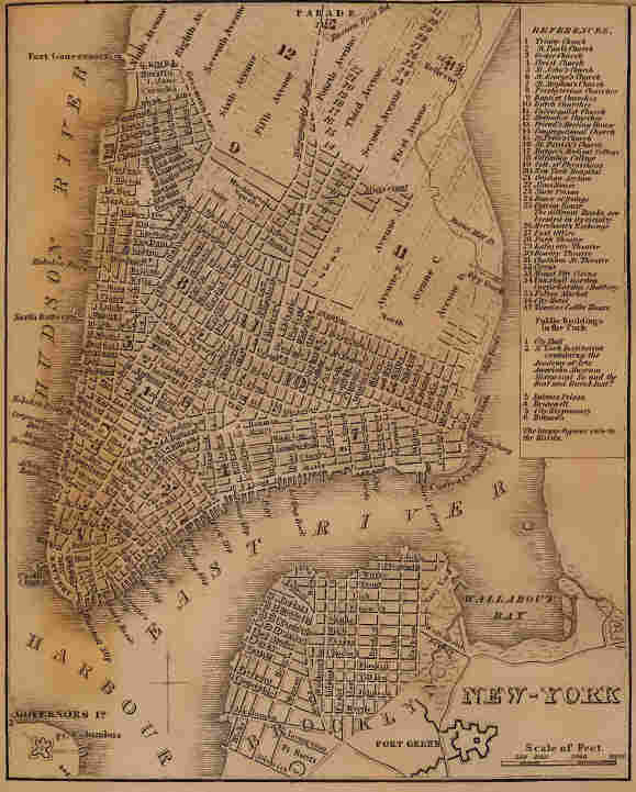 """""""Bowery Boys"""" co-hosts Tom Meyers and Greg Young call themselves """"home-schooled historians,"""" and they do extensive research for their show and its related blog. For an episode about Manhattan's grid pattern, they dug up this map from a book published in 1840."""