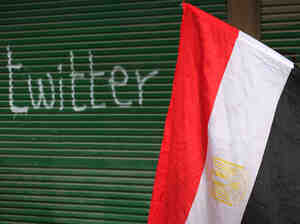 """A shop in Tahrir Square is spray-painted with the word """"twitter"""" after the government shut off Internet access in February 2011 in Cairo, Egypt."""