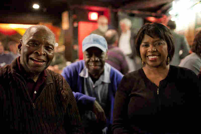Pianist and composer Muhal Richard Abrams (left) and his daughter Richarda Abrams came to visit. In the background is drummer Andrew Cyrille.