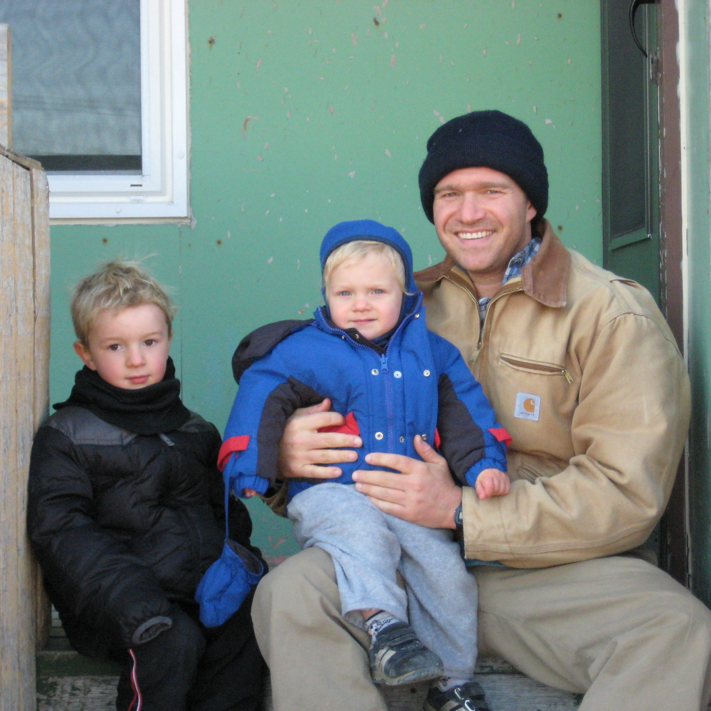 "Author Zac Unger moved his wife and three children -- including sons Zeke (center) and Mac -- to Churchill, Manitoba, Canada, to experience and write about the town's ""bear season."""