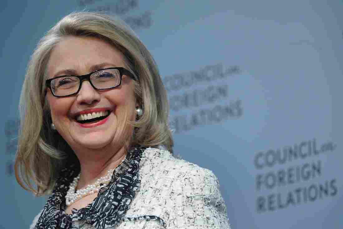 """Outgoing Secretary of State Hillary Clinton listens to her intoduction before speaking on """"American leadership"""" on Thursday at the Council on Foreign Relations in Washington, DC."""