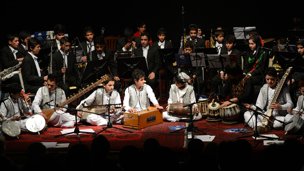 Afghanistan's youth orchestra performs in Kabul on Jan. 31. The orchestra is coming to the U.S. and will appear at Carnegie Hall and the Kennedy Center. (AFP/Getty Images)