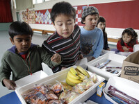 The U.S. Department of Agriculture's proposed new rules for school snacks promote healthier options, like the fruits and vegetables served in this Palo Alto, Calif., cafeteria.