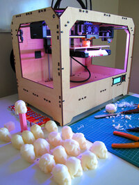 It's slow going printing in 3-D: Each head took about an hour to print.