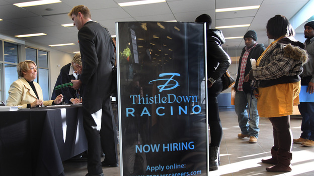 Job seekers came to the ThistleDown Racino and Horseshoe Casino in Warrensvile Hts., Ohio, last month. (The Plain Dealer /Landov)