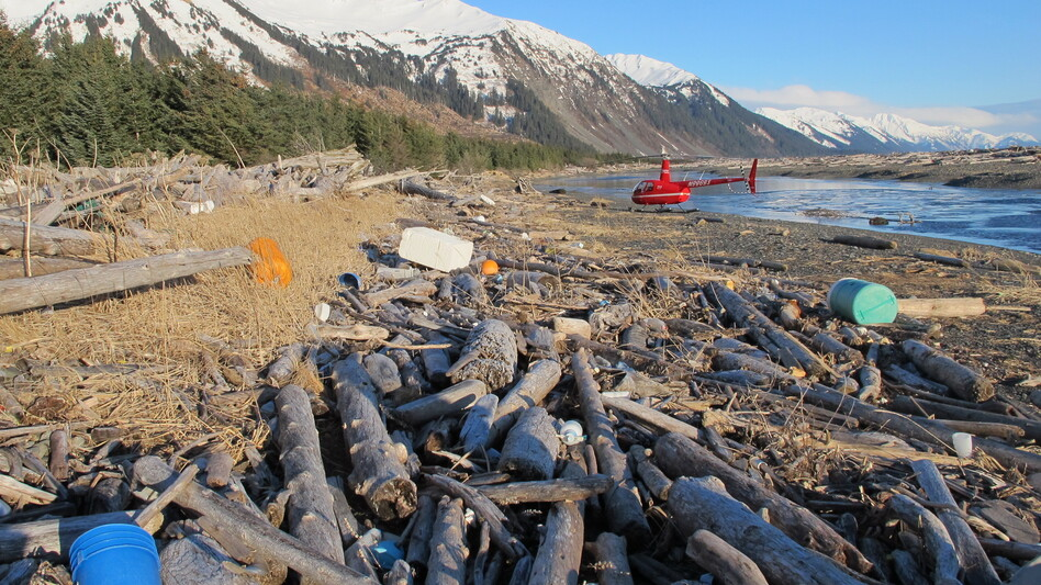 Trash, much of it believed to be debris from the 2011 Japanese tsunami, litters the beach on Montague Island, Alaska, on Jan. 26. (Annie Feidt for NPR )