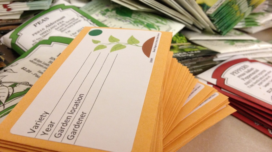 The seed library is a partnership between the Basalt Public Library and the Central Rocky Mountain Permaculture Institute. Seed packets encourage gardeners to write their names and take credit for their harvested seeds. (Courtesy of Dylan Johns)