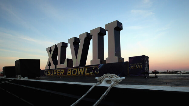 A Super Bowl XLVII sign at Woldenberg Park in New Orleans, La., Saturday.