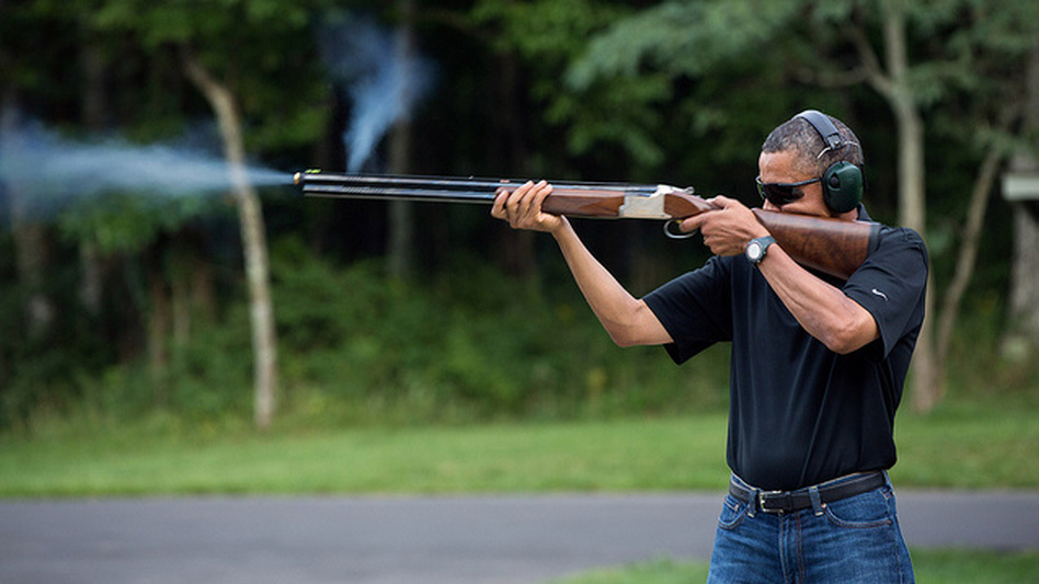 President Obama shoots clay targets on the range at Camp David in Maryland on Aug. 4.