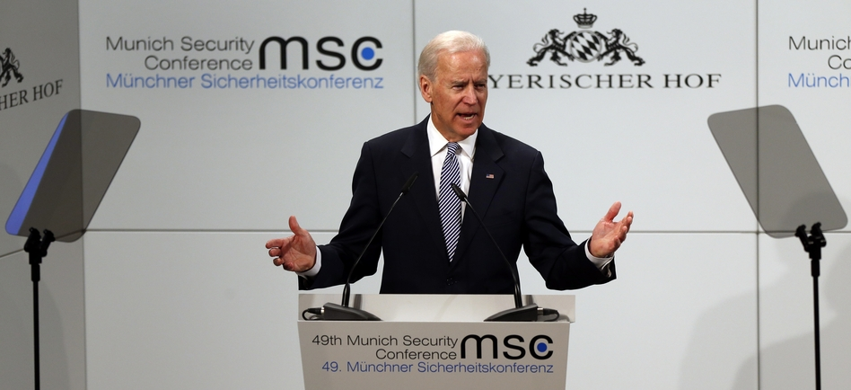 Vice President Joe Biden speaks during the Security Conference in Munich, Germany, on Saturday.