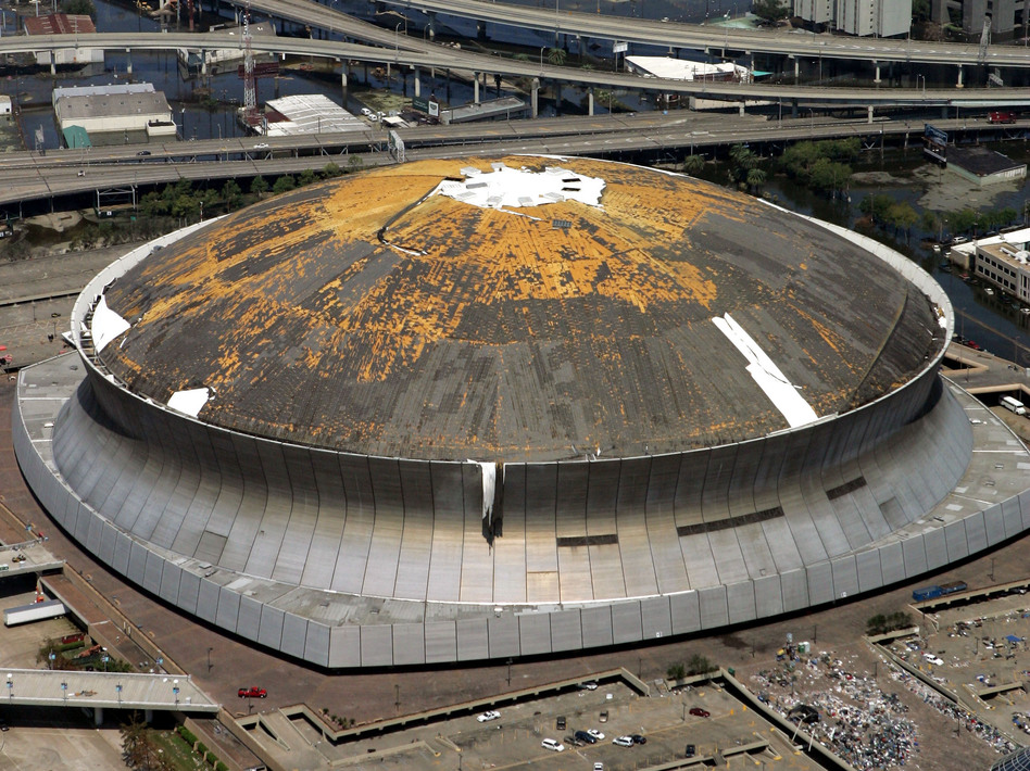 "The Superdome provided shelter for victims of Hurricane Katrina in 2005, but was described as a ""hellhole."" (AP)"