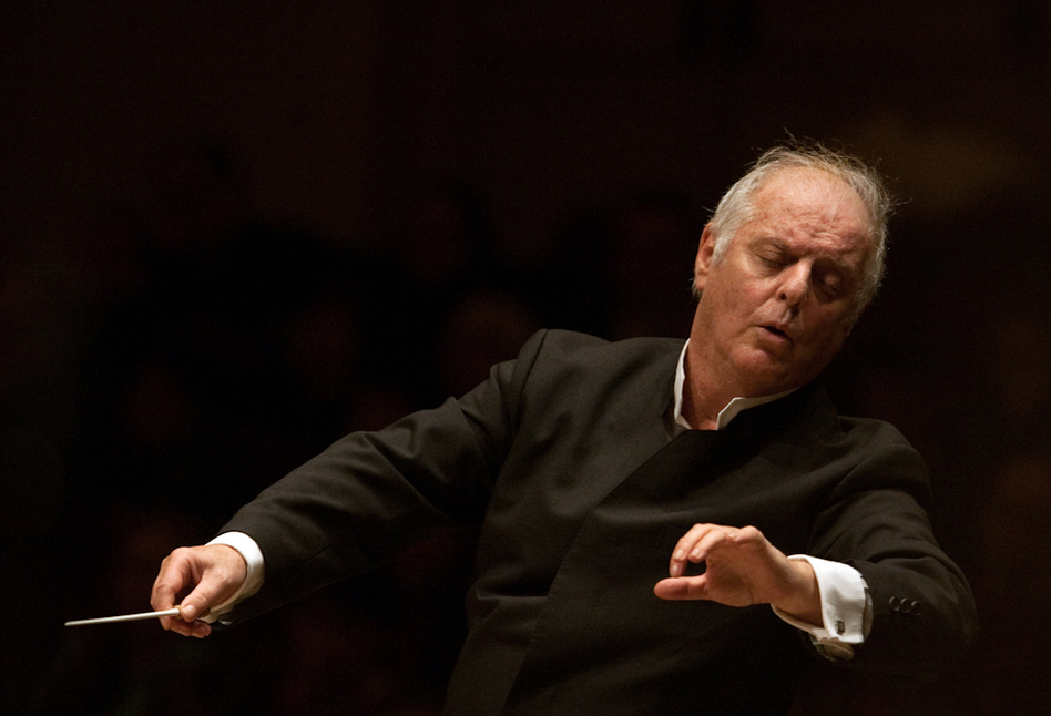 A visually lyric moment as Daniel Barenboim conducts Beethoven's Symphony No. 2 in the first half of his concert with the West-Eastern Divan Orchestra, held at Carnegie Hall on February 3, 2013. (Melanie Burford for NPR)
