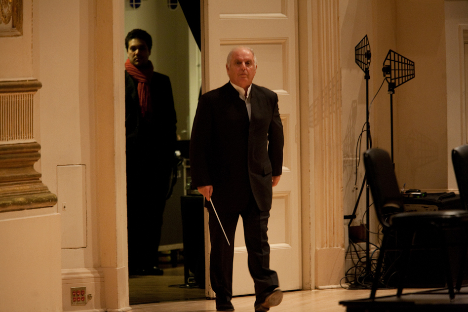 Barenboim makes his entrance onstage for the massive Beethoven Ninth Symphony.  (Melanie Burford for NPR)